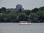 sightseeing boat and water tower at lake Alster
