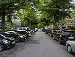 residential street with parked cars