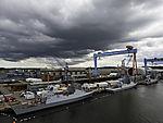 dunkle Wolken über Werft ThyssenKrupp in Kiel