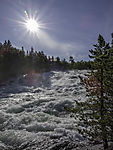 sun over river Saltdalselva
