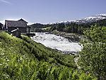 Laksfors turistcafe am Wasserfall Laksfossen