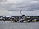 container and cranes in ferry terminal Larvik