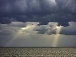crepuscular rays over Skagerrak