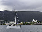 tourists on sailing boat in Tromso