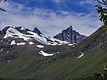 bizarre mountain Hamperokken seen from valley Nakkedalen
