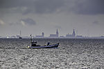 fishing boat befor skyline of Stralsund