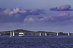 ships traffic on Vitter Bodden at island Hiddensee