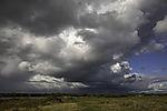 dunkle Wolken über Insel Bock