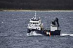Arbeitsboot in der Fischzucht