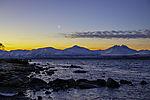 Mondsichel über den Bergen von Malangen