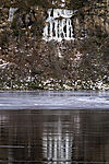 frozen waterfall at lake Storvatnet