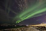 aurora bows over beach