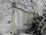 Eis vom Spritzwasser an der Alster