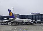 Lufthansa jumbojet at gate on Frankfurt airport