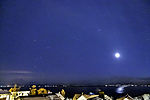 Moon and planet Mars over island Kvalöya