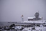 Leuchtturm im Schneefall