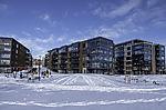 Wohnblocks im Schnee in Tromsö