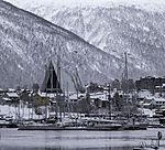 arctic cathedral and boats in Tromso