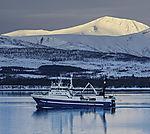 russischer Trawler Strelets nahe Tromsö