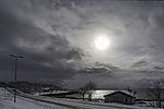 Sonne über Küste von Tromsö