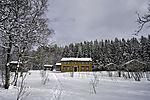 Museumsdorf Folkeparken im Schneewald in Tromsö