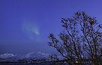 aurora in spring night over mount Lille Blaamannen