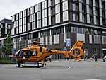 rescue helicopter before university hospital in Hamburg