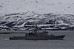 coast guard KV Andenes before island Kvalöya