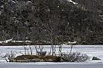Minihütte auf zugefrorenem See