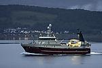 trawler Arctic Swan before island Haaköya